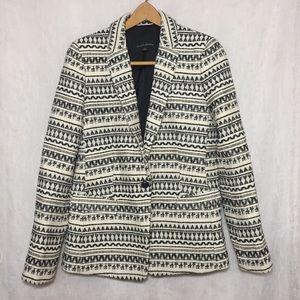 Jacquard Aztec Black & White Blazer Lined Jacket